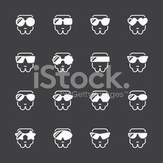 Sunglasses Icons White Series Vector EPS File.