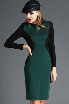Green Contrast Black Long Sleeve Zipper Dress