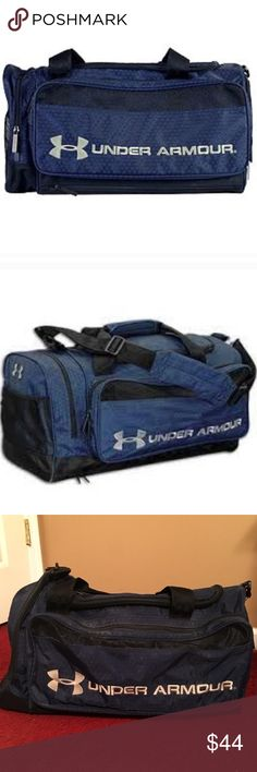 SALE  Navy UNDER ARMOUR Duffel Bag Unisex navy Under ARMOUR duffel bag. Has removable and adjustable straps for both long, cross body, over the shoulder, and also two additional hand straps to be carried. Bag has only been used a handful of times and is in excellent condition. Authentic! No trades! Under Armour Bags Duffel Bags