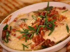 George and the Dragon's Bacon Onion Dip recipe from Diners, Drive-Ins and Dives via Food Network Bacon Appetizers, Appetizer Dips, Appetizer Recipes, Dove Recipes, Great Recipes, Recipe Ideas, Holiday Recipes, Favorite Recipes, Dove Food