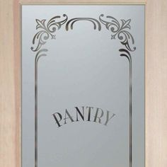 Pantry Doors Etched Glass Pantry Door Frosted Elegant Border
