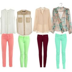 Pink pants, white blouse; lime green pants, nude blouse; maroon pants, nude long sleeve button up; aqua pants, aqua floral print nude top