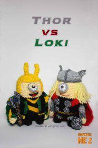 Thor VS Loki #thorvsloki #thorminion #lokiminion #thor #loki #minion #avengers (blog: https://craftypeachybunny.wordpress.com/2013/11/12/thor-vs-loki-amigurumi/)
