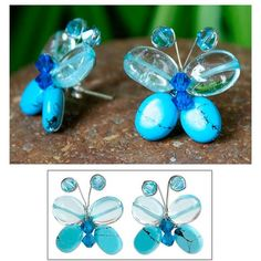 NOVICA Beaded button earrings ($25) ❤ liked on Polyvore featuring jewelry, earrings, button, glass bead, blue butterfly jewelry, earring jewelry, beaded jewelry, butterfly earrings and beading earrings