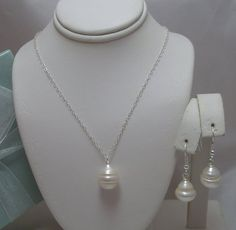 Large Genuine Pearl Natural Teardrop Necklace and by Horae on Etsy, $27.00