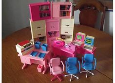 Barbie Office Furniture Playset Lot Desks Chairs Computers Printers Fax | eBay