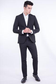 Slim Fit Elastic Black Suit