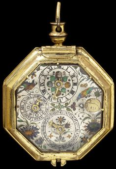 Watch by Johannes Buz (movement), Germany. Gilded and brass case. Silver dial with champlevé enamel and basse taille enamel; with dials for date, the days of the week and the hours, large and small apertures show the age and phase of the moon. circa 1600