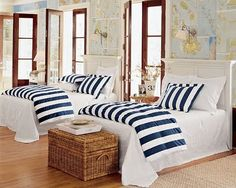 Striped bedding adds a nautical touch