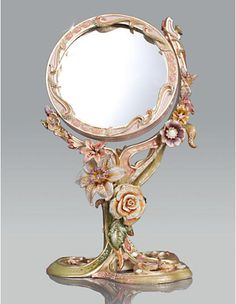 Allyson Floral Standing Mirror - Boudoir Jay Strongwater
