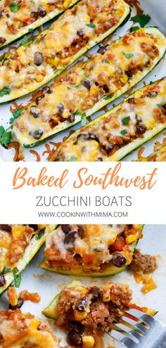 Baked Southwest Zucchini Boats is a very easy and flavorful recipe that can be adapted with different proteins and easily made into a vegetarian dish. Zucchini Dinner Recipes, Zuchinni Recipes, Low Carb Dinner Recipes, Delicious Dinner Recipes, Stuffed Zucchini Recipes, Healthy Low Carb Dinners, Recipe Zucchini, Yummy Food, Beef Recipes