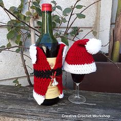 Dress up any wine/sparkling or non-alcoholic beverage bottle with this cute Santa Bottle Jacket & Matching Hat. Great table decor accessory to make any festive table jolly!