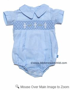 Posh Originals Blue Smocked Christening Cross Romper for Boys Baby Boy Newborn, Baby Boys, Toddler Boys, Boy Baptism Outfit, Blessing Dress, Easter Outfit, Christening Gowns, Toddler Boy Outfits, Baby Sewing