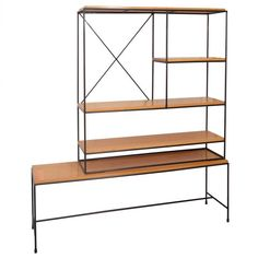 Paul McCobb Planner Group Iron Console Shelf Unit | From a unique collection of antique and modern bookcases at https://www.1stdibs.com/furniture/storage-case-pieces/bookcases/