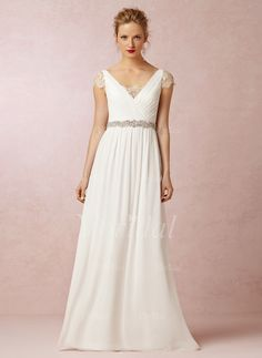 Wedding Dresses - $151.39 - A-Line/Princess V-neck Floor-Length Chiffon Wedding Dress With Ruffle Lace Beading (00205003383)