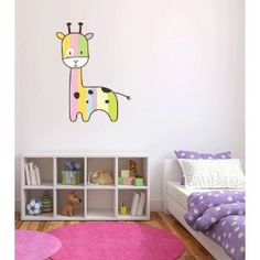 Colorful giraffe baby removable wall decal.