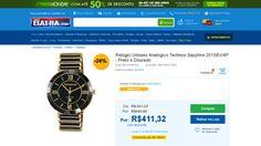 [Casas Bahia] Relógio Unissex Analógico Technos Sapphire 2015BV / 4P - Preto e Dourado Preto - de R$ 451,30 por R$ 411,32 (8% de desconto)