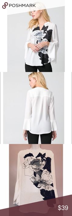 """{Le Chateau} Floral Crepe de Chine Bell Sleeve Top Be elegantly efflorescent in this stunning blouse finished with a feminine floral print and dramatic sleeves.  Crêpe de Chine Split V-neck, long bell sleeves Semi-fitted, straight hem 27.5"""" from high shoulder point Le Chateau Tops"""