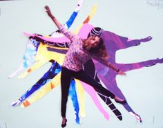 """photographs of them in an """"action"""" pose then printed the image for use in this project. Students were to notice in  particular the movement and rhythm of the piece.   To begin the lesson the students cut out their photograph then traced it several times onto colored paper of their choice.  The images were arranged on a variety of creative backgrounds."""