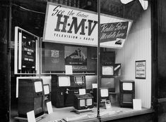 hmv 363 Oxford Street, London - TV window display 1950s