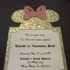 Minnie Mouse Invitation First Birthday by AGirlAndSomeSparkle | personalized character invitation | 1st birthday | birthday party invite | Mickey Mouse clubhouse | sparkly invitation | cute glitter invite | Mickey Mouse ears | Disney