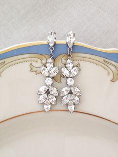 Long Swarovski crystal earrings, marquise, leaf, leaves, bridal earrings, bridesmaid gift, bridesmaid jewelry, crystal earrings