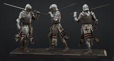 Medieval Knights, Made In Saturno - Mittelalter Concept Art World, Fantasy Concept Art, Fantasy Armor, Medieval Knight, Medieval Armor, Medieval Fantasy, Character Modeling, Character Art, Knight Models