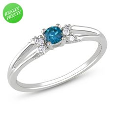 I've tagged a product on Zales: 1/5 CT. T.W. Enhanced Blue and White Diamond Split Shank Promise Ring in 10K White Gold