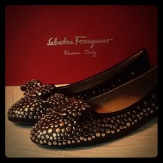 Ballerinas with modern rivets, feminine bow detail Fashionable ballerinas from Salvatore ferragamo. Never been worn. New and in original box. Very modern with rivet and a feminine bow detail in the front of the shoe. Salvatore Ferragamo Shoes Slippers