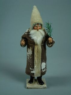 "11,5""Paper mache*German  Santa* candy container *(brown)by Paul Turner"