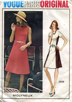 vintage sewing pattern 1960's vogue paris original 2858