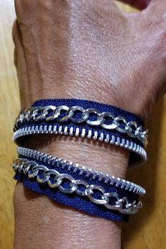 Navy blue zipper bracelet with stainless steel teeth. Fits wrist size inches and up. Diy Denim Bracelets, Fabric Bracelets, Handmade Bracelets, Cuff Bracelets, Zipper Bracelet, Zipper Jewelry, Beaded Jewelry, Jewellery, Zipper Crafts