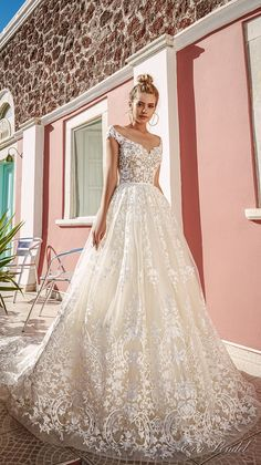 Eva Lendel 2017 bridal cap sleeves off the shoulder scoop neck full embellishment romantic priincess a  line wedding dress keyhole back chapel train (perry) mv #wedding #bridal