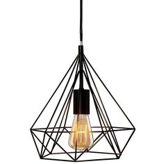 Black Metal Diamond Cage Pendant Lamp ($60) ❤ liked on Polyvore featuring home, lighting, ceiling lights, plug in pendant lights, geometric pendant lights, black lights, black pendant lighting and cage pendant lights