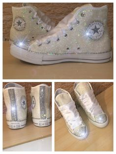 Women's All WHITE sparkly Glitter and swarovski crystals toe ribbon lace MONOCHROME CONVERSE tennis shoes by CrystalCleatss on Etsy