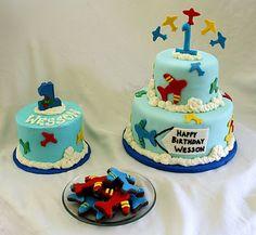 Airplane Cake, Smash Cake & Cookies for little boys 1st birthday! @Amanda Sheehan