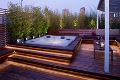 A Jacuzzi is a real relaxation oasis, the best place ever to have a rest after a long day. But if your Jacuzzi is outdoors, it's even more amazing . Rooftop Design, Patio Design, Backyard Designs, Backyard Ideas, Terrace Ideas, Garden Jacuzzi Ideas, Roof Terrace Design, Pool Landscape Design, Pool Designs