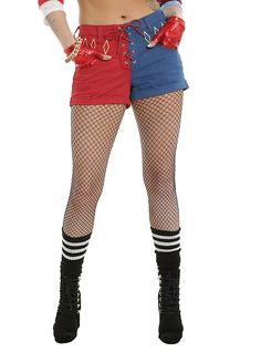DC Comics Suicide Squad Harley Quinn Lace-Up Split Shorts Pre-Order, RED