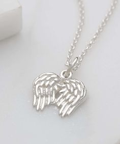 Loving this Sterling Silver Angel Wings Pendant Necklace on #zulily! #zulilyfinds