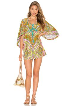 33762b3bf22aa NWT  160 Trina Turk Capri Tunic Swimsuit Cover-Up Kimono Lace Up Dress  Women s S