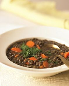 Lentil, Carrot, and Lemon Soup with Fresh Dill