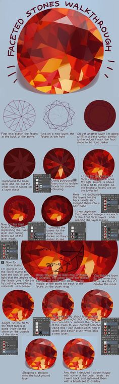 How to color gems in Photoshop - by Vivi (VVNNG) #PhotoshopDrawing
