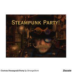 Custom Steampunk Party 5x7 Paper Invitation Card