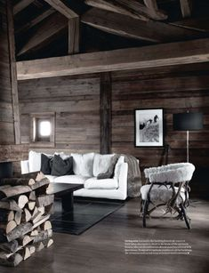 Not big on pale covered furnishings and photos on feature walls where art should be. Ski chalet living room, natural and modern -★- wood