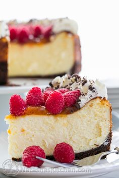 Raspberry Apricot Cheesecake with Chocolate Crust @NatashasKitchen