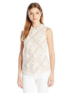 Nanette Nanette Lepore Women's Bias Cut Peter Pan Collar Sleeveless Top-Lace, Credence Cream, 10- #fashion #Apparel find more at lowpricebooks.co - #fashion