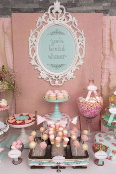 Shabby Chic Girl Spring Floral Bridal Shower Party Planning Ideas Love This! Chic Bridal Showers, Bridal Shower Party, Baby Showers, Wedding Showers, Shower Baby, Fiesta Shower, Bar A Bonbon, Festa Party, Shower Inspiration