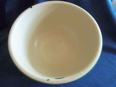 Cream and Green Enamel Ware Bowl, Vintage 1930's by HeronBlueVintage on Etsy