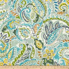 Swavelle/Mill Creek Indoor/Outdoor Pezzola Lakeland from @fabricdotcom  This indoor/outdoor fabric is stain and water resistant, very family friendly and perfect for outdoor settings and indoors in sunny rooms. It is fade resistant up to 500 hours of direct sun exposure. Create decorative toss pillows, cushions, chair pads, placemats, tote bags, slipcovers and upholstery. Colors include shades of blue and green, yellow, brown, tan and white.