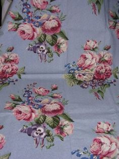 015 Vintage Laura Ashley English Country Print Fabric Roses Pansies on Blue 1yd | eBay, printed fabric, fabric, print, design